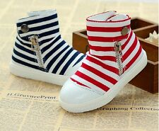 Kids Toddlers Girls Boys Canvas Stripes Sneakers Short Boots Causal Shoes X034