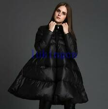 New Women Winter Down Jacket Thicken Warm PUFFER Parka Coat Poncho Outwear Black
