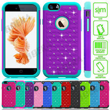 Bling Crystal Shockproof Rubber Combo Case Cover For iPhone 5 5S SE 6 6S Plus