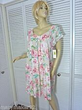 NWT$48 MISS ELAINE NIGHTGOWN LARGE PINK FLORAL SCOOP NECKLINE RAYON/SPANDEX GOWN