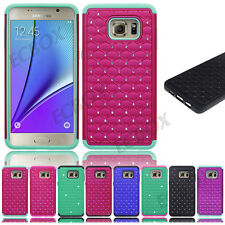 Rugged Rubber Bling Crystal Combo Tough Case Cover For Samsung Galaxy S / Note