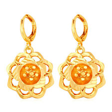 Fashion Jewelry 18K Real Gold Plated Rose Flower Shaped Drop Dangle Earrings
