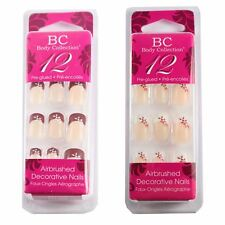 Body Collection Stick On False Nails French With Flower Design