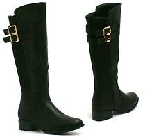 WOMENS BLACK LEATHER STYLE LOW HEEL ZIP UP GOLD TRIM KNEE HIGH BOOTS SIZE 3-8