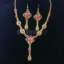 Wonderful Crystal Flower Waterdrop Pendant Necklace Earrings Bridal Jewelry Set