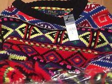 $398! NWT Polo Ralph Lauren Women's Fair Isle Black Nordic Wool Cashmere Sweater