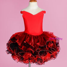 2pcs Girls Off-Shoulder Cupcake National Pageant Dress Shell Red Size 2T-10 #001