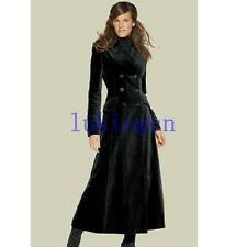 Womens Extra Long Wool Blend Coat Double Breasted Military Jacket Trench Outwear