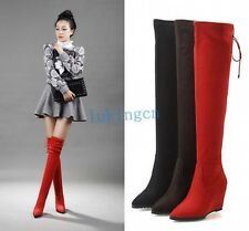 women's sexy pointy toe wedge heel shoes over the knee thigh high boots shoes sz