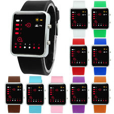Unisex Women Mens Watch Silicone Digital Red LED Sports Watch Binary Wristwatch