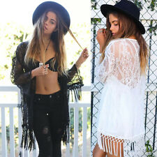 Hot Sexy Women Blouse See Through Lace Kimono Cardigan Shirt Blouse Tassels Tops