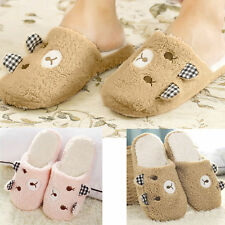Women Lady Cute Bear Winter Warm Slippers Soft Plush Antiskid Indoor Home Shoes