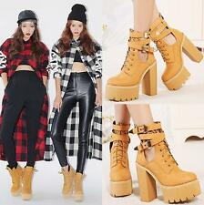 Punk Womens Buckle Ankle Boots Platform Hollow Out High Heels Lace Up Shoes Size