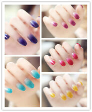 Lovely Sparkling Color Gradients Fake Nail Tips Manicure False Nails 24pcs Gift