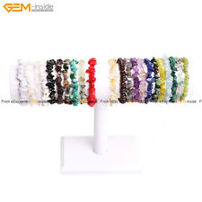 "Natural Beads Freeform Chip Gravel Beads Gemstone Bracelet 7 1/2""Fashion Jewelry"