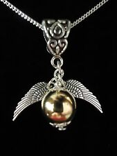 WIZARD SNITCH NECKLACE OR GIFT SET.STERLING SILVER OPTION. SUIT HARRY POTTER FAN