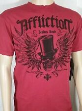 NWT Affliction Jealous Souls Top Hat Destroyed Tee Red Size M, XL