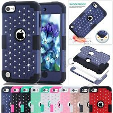 New Bling Crystals Heavy Duty Soft Rubber Hybrid Hard Case for iPod Touch 5 / 6