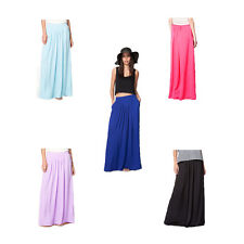 Womens Summer Maxi Skirt Pleated Long Skirts Casual Holiday Beach Party Dress