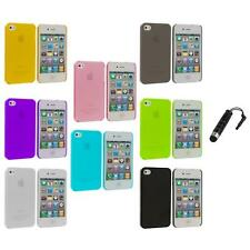 0.3mm Color Super Ultra Thin Hard Frost Case Skin+Stylus Plug for iPhone 4 4G 4S