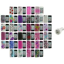 Color Bling Rhinestone Diamond Hard Case Accessory+Dual Charger for iPhone 4S 4G