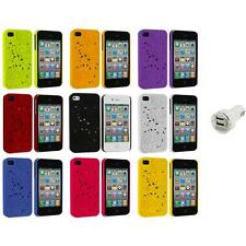 3D Rose Flower Color Hard Rubberized Cover Case+Dual Charger for iPhone 4 4S 4G