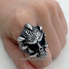 Men's Dragon Claw Skull  316L Stainless Steel Biker Ring US Size 8 -13