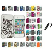 For Apple iPhone 4 4S Hard Design Case Cover Accessory Stylus Plug