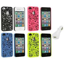 Color Lovely Carving Rose Flower Rear Hard Case+White Charger for iPhone 4 4G 4S