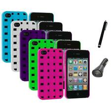Color Basket Weave Hard Snap-On Rubberized Case+Charger+Pen for iPhone 4 4S 4G