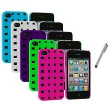 Color Basket Weave Hard Snap-On Rubberized Case+Metal Pen for iPhone 4 4S 4G