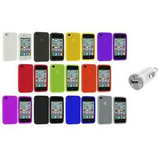 Color Silicone Rubber Gel Skin Case Cover Accessory+USB Charger for iPhone 4S 4G