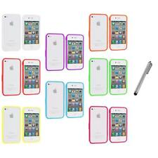 Bumper TPU Solid Jelly Color Rubber Skin Case+Metal Pen for iPhone 4 4S 4G