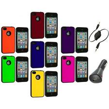 Color TPU Bumper Hybrid Hard Rubberized Case+Aux+Charger for iPhone 4 4S 4G