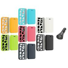 For iPhone 4 4G 4S Wallet Carved Out Design Hard Color Case Cover+Car Charger