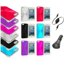 Chrome Aluminum Hard Luxury Case Cover Accessory+Aux+Charger for iPhone 5 5S