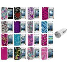 Color Diamond Rhinestone Bling Cute Case Cover+USB Charger for iPhone 5 5S