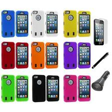 Deluxe Hybrid 3-Piece Hard/Soft Case+Guard+LCD+Charger+Pen for iPhone 5 5S