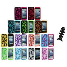 Zebra Hybrid 2-Piece Hard/Soft Case Skin Cover+Cable Wrap for iPhone 5 5S 5th
