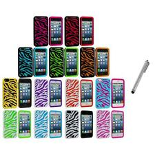 Zebra Hybrid 2-Piece Hard/Soft Case Skin Cover+Metal Pen for iPhone 5 5S 5th