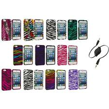 Zebra Design Hard Snap-On Rubberized Case Cover+Aux Cable for iPhone 5 5S