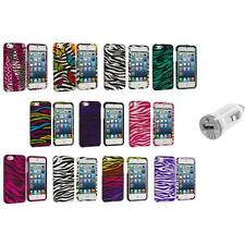 Zebra Design Hard Snap-On Rubberized Case Cover+USB Charger for iPhone 5 5S