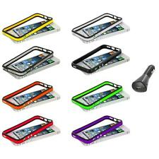 TPU Bumper Color Rubber Case Cover Metal Buttons+Car Charger for iPhone 5 5S