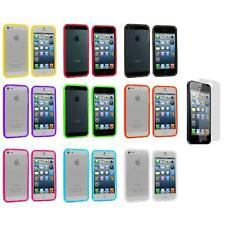 Transparent TPU Jelly Bumper Gel Case Gel Cover+3X LCD Protector for iPhone 5 5S