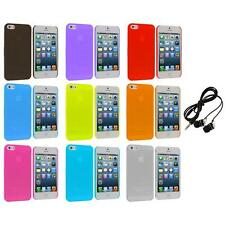0.3mm Frost Super Ultra Thin Hard Snap-On Case Cover+Headphones for iPhone 5 5S