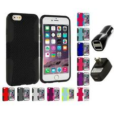 For Apple iPhone 6 (4.7) Hybrid Mesh Case Cover Accessory 2X 2A Chargers