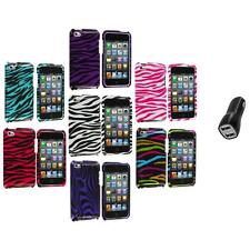 Zebra Design Hard Case Cover Accessory+2.1A Charger for iPod Touch 4th Gen 4G 4