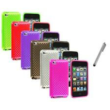 TPU Diamond Pattern Rubber Case Cover+Metal Pen for iPod Touch 4th Gen 4G 4