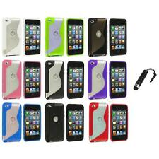 TPU S-Line Deluxe Rubber Case Cover+Stylus Plug for iPod Touch 4th Gen 4G 4