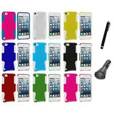 Hybrid Mesh Hard/Soft Skin Case Cover+Charger+Pen for iPod Touch 5th Gen 5G 5